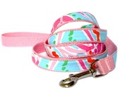 """Dog Leash: Lilly Pulitzer Jellies be Jammin Fabric on Pink 60"""" or 72"""""""
