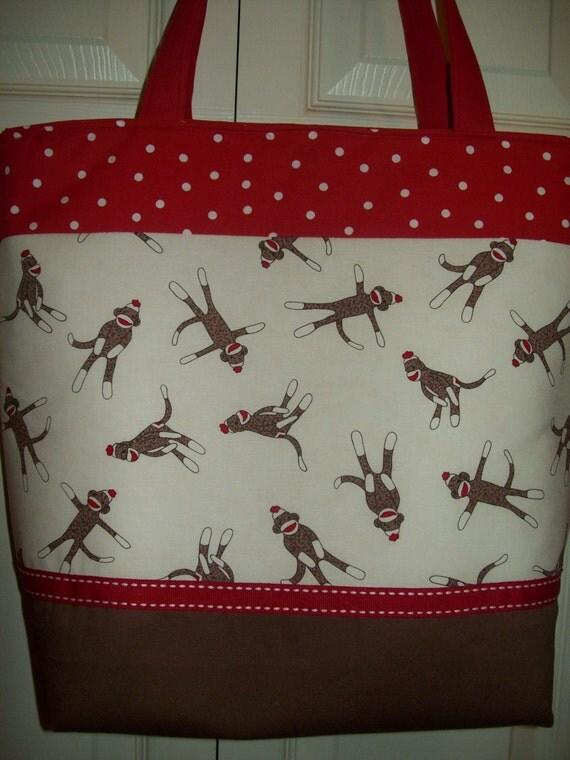 RED Brown...Cream ..SOCK MONKEY...Polka Dots...Ribbon.Binky Clip...Diaper Bag..Tote..Bookbag