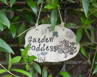 Garden Goddess Ceramic Garden Sign - tree