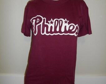 Vintage 80s 90s     Phillies   Philladelphia    baseball shirt tee t shirt tshirt       clothing clothes   Russell        S small