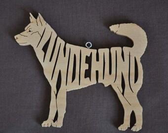 Norwegian Lundehund Dog Ornament Wooden Figure Decoration Hand Cut