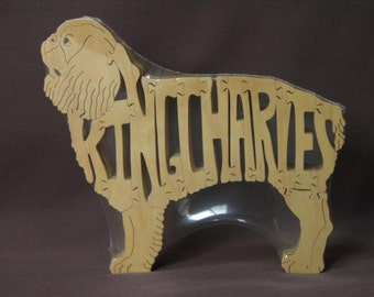 King Charles  Spaniel Dog Puzzle Wooden Toy Hand Cut with Scroll Saw