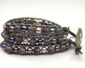 The Tara - Gray, Silver, Violet Triple Wrap Leather Bracelet