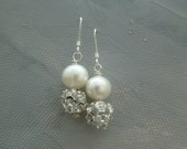Ivory Freshwater Pearl Earrings, Bridal Ivory Earrings, Wedding Earrings, Wedding Jewellery Classic, Ivory White Cream Rose Earrings, AAMIRA