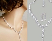 Wedding Jewelry Set Pearl Bridal Necklace Earrings Set Rhinestone Y Drop Pearl Crystal Necklace Bridesmaids Gift Jewelry