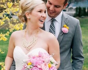 Pearl Wedding Necklace, Bridal Statement Necklace Gold, Pearl Necklace Wedding Jewelry, Chunky Wedding Statement Necklace