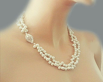 Pearl Bridesmaid Necklace Wedding Pearl Necklace Bridal Jewelry Double Strand White Ivory Pearl Statement Necklace Vintage Style Bride DOREN