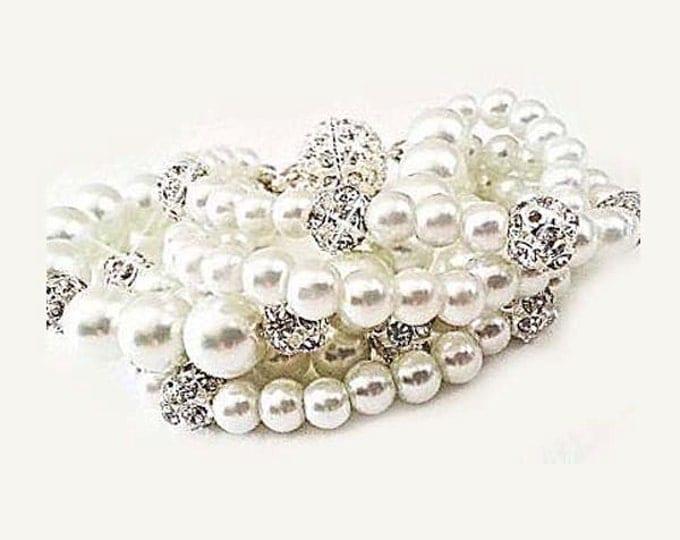 Bridal Bracelet Pearl, Wedding Bracelet, Pearl Rhinestone Bracelet, Bridal Braclets, Bridal Cuff Gatsby Wedding Jewelry Chunky Statement