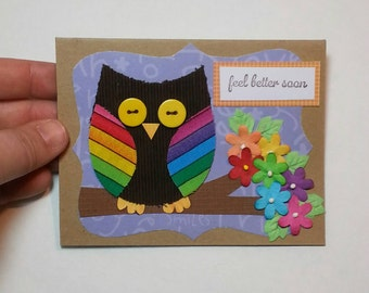 Get Well Card, Get Well Soon greeting card, owl card, card