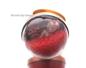 Love Frozen Charlotte Doll Dome Ring Gold Plated Doll Under Glass Dome Tiny Charlotte Doll Ring