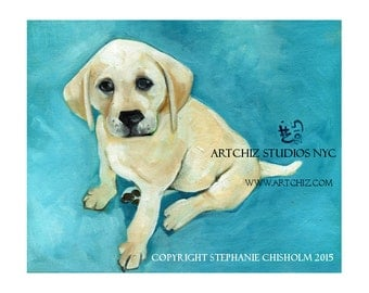 Puppy Art. Blonde Labrador Retriever Puppy Illustration. Dog Art. Print. Blonde Lab Puppy.  Puppy Art.  Portrait.  - Come to Mama