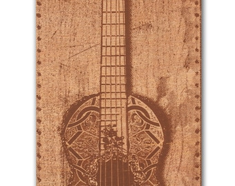 Light Guitar screen print on Wood