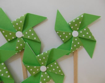 Pinwheel Cupcake Toppers - Green and White Polka Dots - Birthday Party Decorations - Set of 6