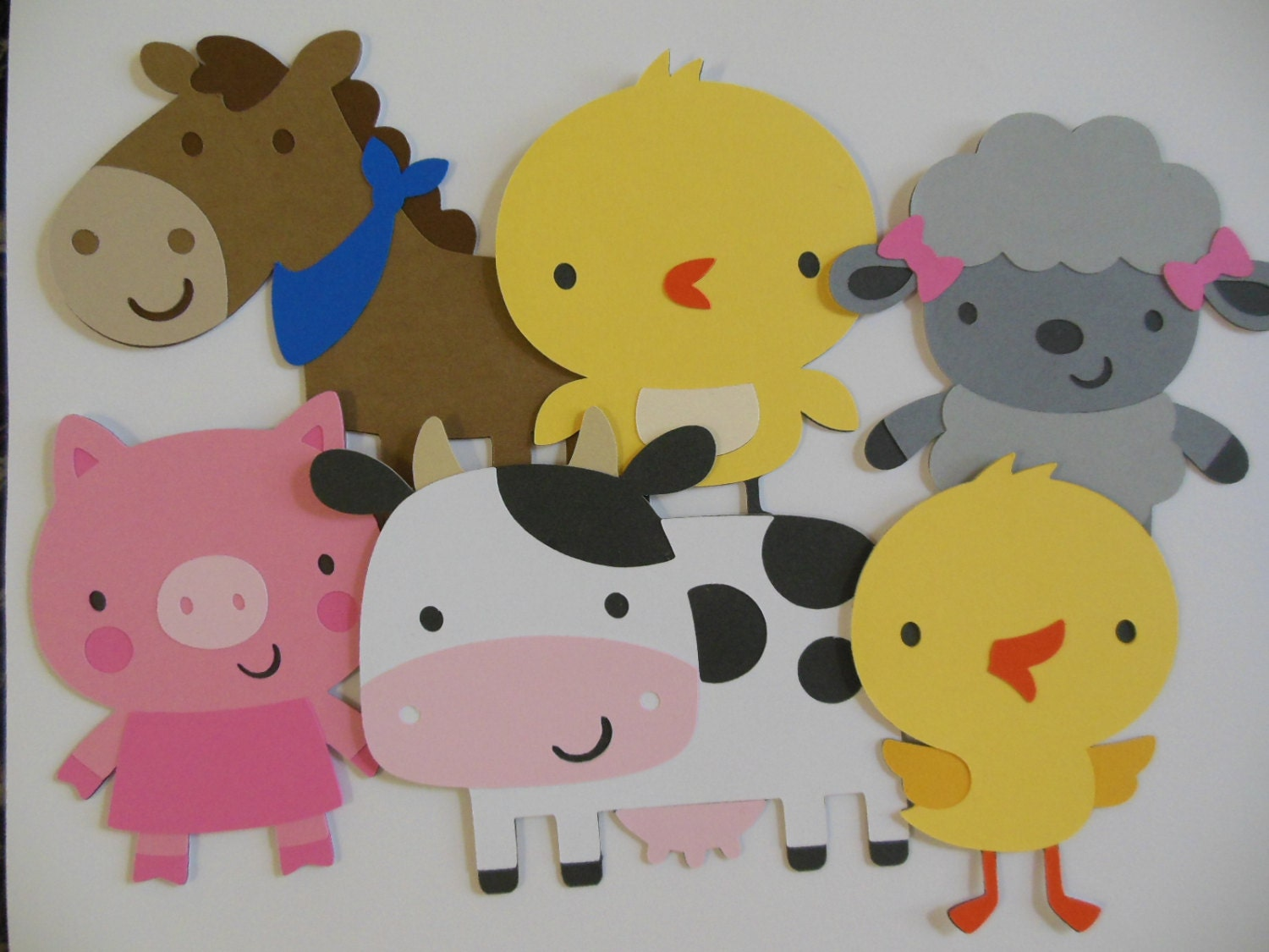 Farm animal cutouts chick cow horse lamb pig and for Baby shower decoration cutouts