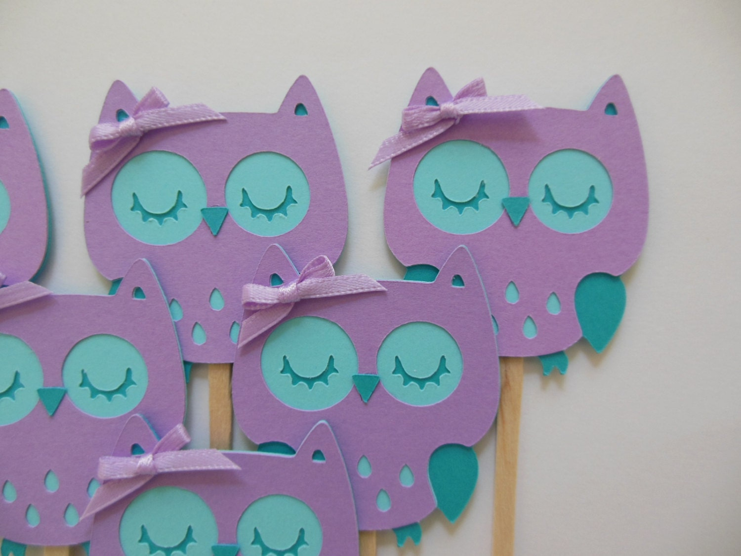 Turquoise Baby Shower Decorations Owl Cupcake Toppers Lavender And Aqua Girl Birthday Party