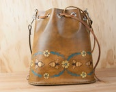 Bucket Bag - Leather Bucket Bag - Leather Handbag - Leather Purse - Leather Tote - Melissa pattern with flowers and bees - antique brown