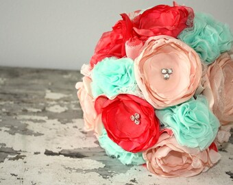 Coral wedding bouquet, Coral, peach and mint bridal bouquet, custom brides bouquet, fabric flower, alternative, keepsake wedding bouquet
