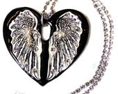 Black Heart With Wings Sparkle Surly Necklace with Swarovski Crystals