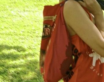 FOUR Recycled T shirt Grocery Bags Tote Bag Festival Bag Purse VEGAN Eco Reusable bag