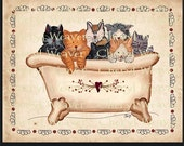 Bath Cat 8 by 10 Inch Original Primitive Folk Art Print  by Cheryl Weaver