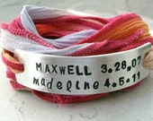 Personalized Mothers Bracelet, Mother's Day Gift, Mom Bracelet, choose metal & ribbon, customized text, 2 lines, 15 characters each