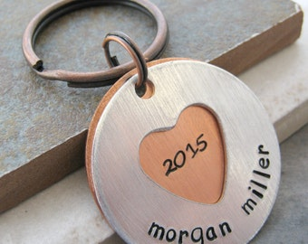 Personalized Graduation Keychain, 2 Layers, Class of 2015 keychain, Senior Year gift, gift for the graduate, secret message, hidden message