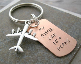 My Other Car is a Plane Keychain, Aviation keychain, pilot keychain, pilot gift, aviator gift, optional initial disc, see all pics