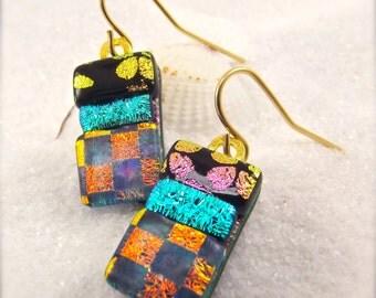 Handcrafted fused glass earrings, Dichroic glass jewelry, Fused glass earrings, Dichroic, Hana Sakura, Trending jewelry, Modern earrings,