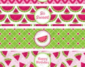 Printable Watermelon Birthday Water Bottle Wrappers - Instant Download
