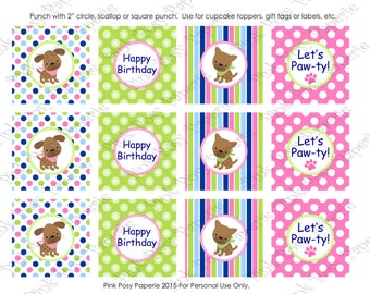 Printable Puppy Dog Girl Birthday Cupcake Toppers - Instant Download