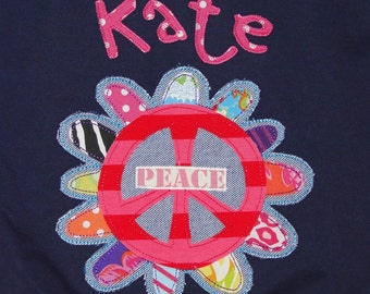 Personalized Navy Fleece Lined Hoodie with Beautiful Flower with Peace Sign,Girls Hoodie,Personalized Hoodie,Bridal party gift,baby gift