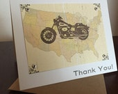 Motorcycle & Map 6-Pack Screen-Printed Thank You Cards