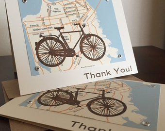 San Francisco Map and Bike - 12-Pack Screen-Printed Thank You Cards