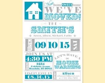 Custom Modern Retro HOUSEWARMING HOUSE WARMING Invite Invitation Printable Digital Design - Typography / We've Moved / New Home Sweet Home