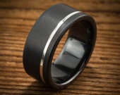 Men's Wedding Band Comfort Fit Interior Black Zirconium Silver Stripe Ring