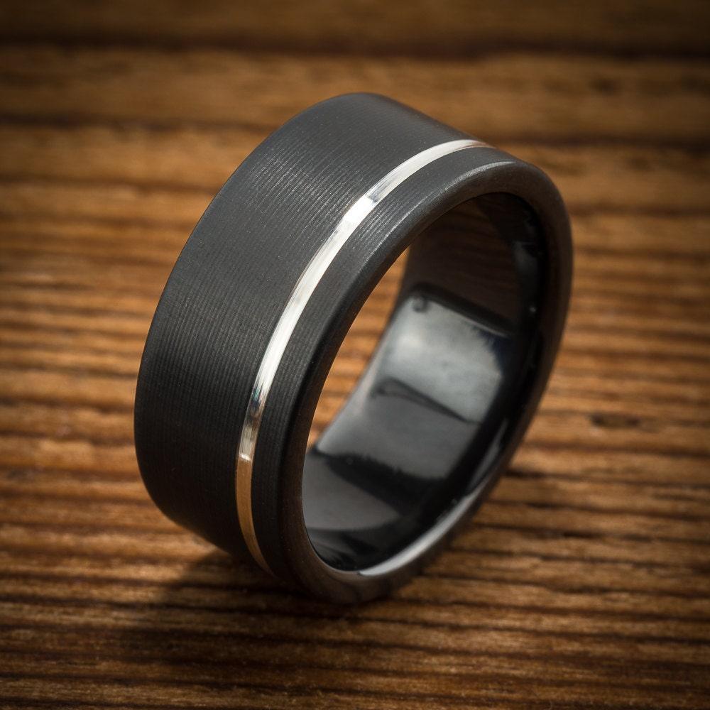 men 39 s wedding band comfort fit interior black zirconium