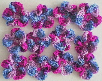 Pansy flowers crocheted in purple, pink - 12 in total, crochet appliques, flower appliques, pansies, Spring flowers, bouquet of flowers