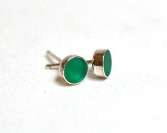 Green Resin Post Stud Earrings Sterling Silver