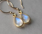 Gold Moonstone Earrings, Rainbow Moonstone Jewelry, Bridal Jewelry, June Birthstone, Moon stone Jewelry, Moonstone Teardrop, Gift for Women