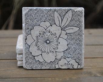 Bloom Natural Stone Coasters. Set of 4. Housewarming, Hostess, Home Decor.
