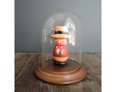 Vintage Glass Dome Cloche with Wooden Base -