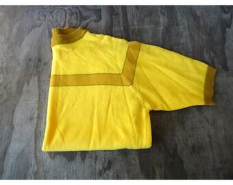 1950s Mens Sweater - Short Sleeve Yellow - Medium