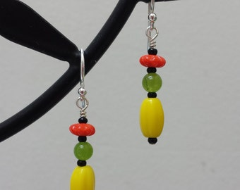 Yellow Earrings Vintage Glass Fluted Coral & Yellow Barrel with Green Jade Sterling Silver Lightweight Dangle Earrings