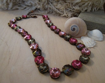 12mm Rose, Crystal Lilac Shadow & Greige Swarovski Crystal Tennis Necklace in an Antique Copper Plated Setting