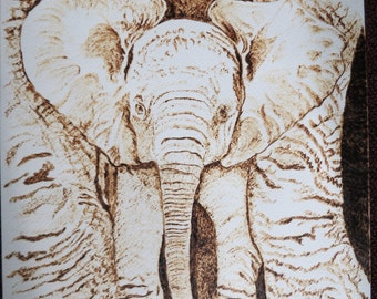 Pet Portrait Memorials Burned on Paper Mother and Baby Elephant 9 x 12 inches Made to Order with Frame by Pigatopia