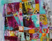 Large Contemporary Graffiti  Abstract Acrylic Painting Patchwork on Canvas Large Format  Original by Jodi Ohl