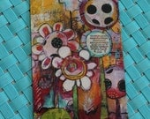 """NEW Mini Magnet Wild Flowers """"Your Time Is Now"""" in magenta, yellow, aqua,  white, purple abstract design  by Jodi Ohl"""