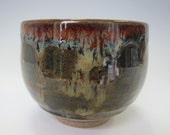 Handmade Pottery Yunomi Teacup - Rich Brown Glaze - Highlights of Red and Gold -