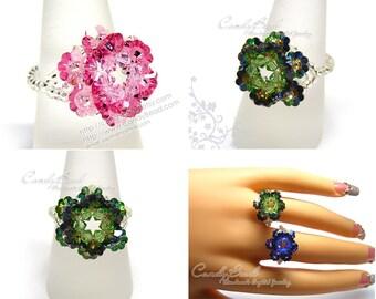 Swarovski Ring;crystal ring;Flower ring, Lotus Swarovski Crystal Ring by CandyBead (R003-02)