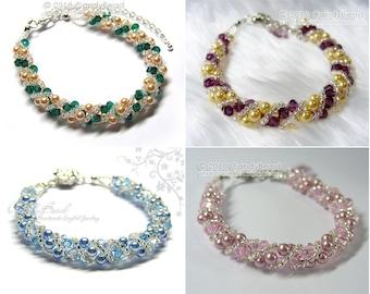 Silver Twisty Crystal and Pearl Bracelet, Twisty Swarovski Crystal Bracelet by CandyBead